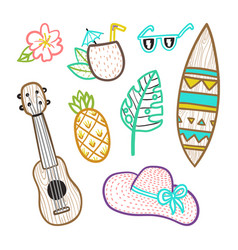 Set of vacation objects vector