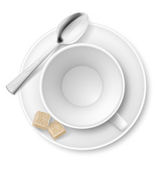 Cup of sugar on white background vector