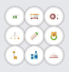 Flat icon child set of cream with lotion rattle vector