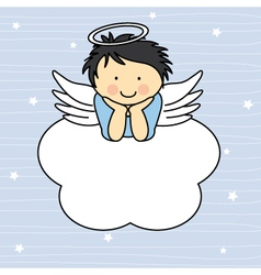 Angel wings on a cloud vector image
