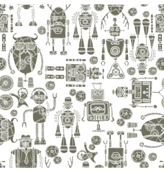 Hipster robot seamless pattern black and white vector