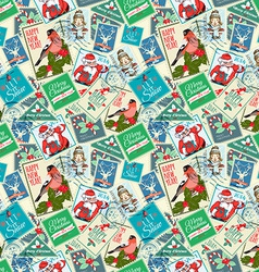 Seamless background of Christmas postal stamps vector image