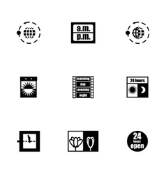 24 hours icon set vector