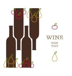 Wine bottles with apples and pears advert banner vector