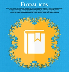 Book bookmark icon floral flat design on a blue vector