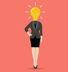 Business woman with a light bulb instead of head vector
