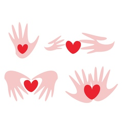 Hands and hearts vector