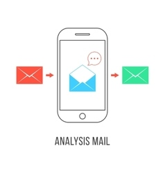 analysis mail with colored letters and smartphone vector image vector image