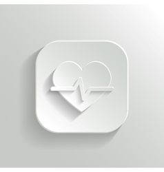 Cardiology icon - white app button vector