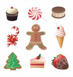 Christmas sweets icons set vector image