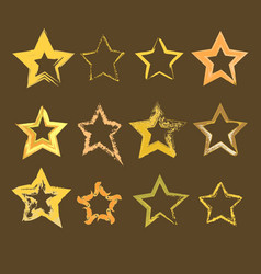 Collection of hand drawn stars vector