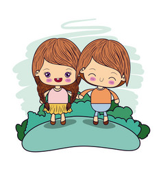 Color picture couple kawaii girl braids hair with vector
