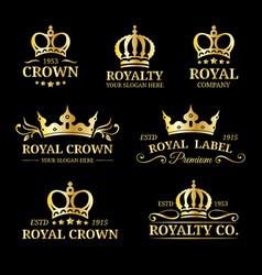 crown logos set luxury corona monograms vector image