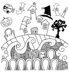 Doodle art halloween castle vector