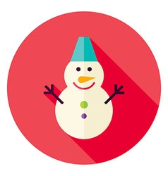 Flat Design Snowman Circle Icon vector image