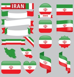 Iran flags vector image vector image