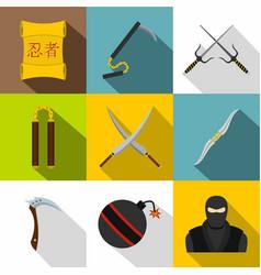 Japanese ninja icon set flat style vector