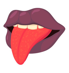 Lips with tongue icon cartoon style vector