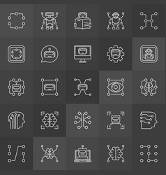 Machine learning concept icons in thin line vector