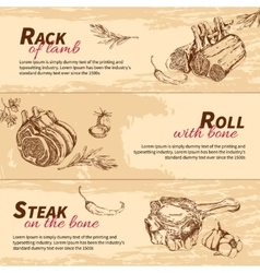 Meat dishes hand drawn banners vector