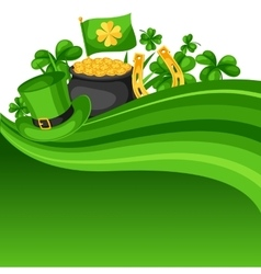 Saint patricks day card flag pot of gold coins vector