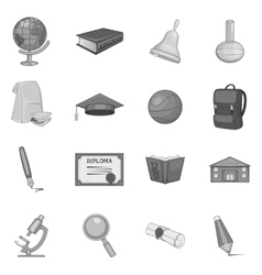 Science icons set gray monochrome style vector