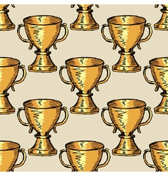 seamless background with trophy vector image vector image