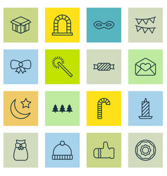 Set of 16 celebration icons includes knitted cap vector