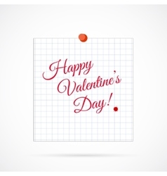 Sheet of Paper and Happy Valentine Day on vector image