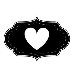 Silhouette card love heart ornament vector