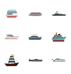 yacht and boat icons set flat style vector image