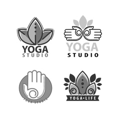 Yoga monograms and logos set vector