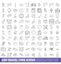 100 travel time icons set outline style vector