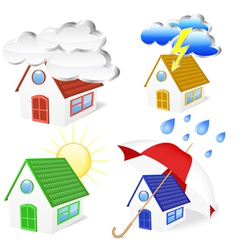 3d houses with weather symbols set vector