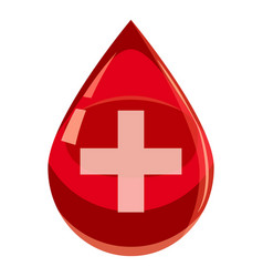 red drop of blood with cross icon cartoon style vector image