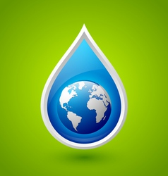 Water drop and planet earth icon vector