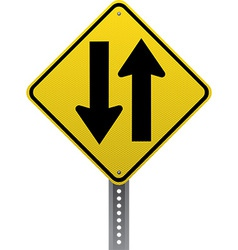 Two way traffic sign vector