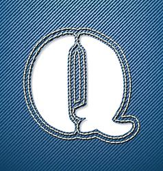 Denim jeans letter Q vector image