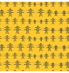 Seamless pattern of industrial power lines in flat vector