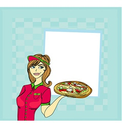 Beautiful woman serving pizza vector