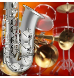 Abstract music red background with saxophone and vector