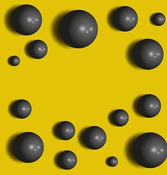3D black spheres on the yellow abstract background vector image