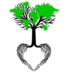 Heart tree with green world map vector