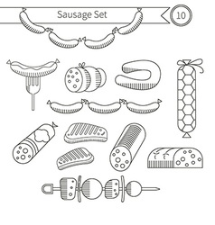 Sausages collection vector