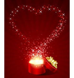 open gift present box with fly stars heart shape vector image