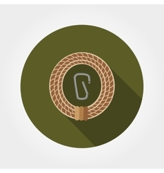 Rope with carabiner vector