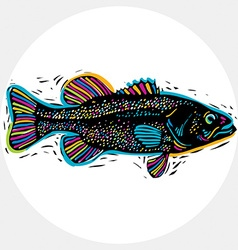 Drawing of freshwater fish with fins underwater vector