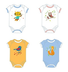 Baby garments t-shirts with animals print vector