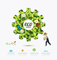Ecology infographic green gear shape with farmer vector