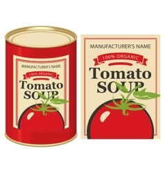 Tin can with label tomato soup vector